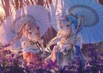 Обои Rem / Рем и Ram / Рам с зонтиками в саду на закате из аниме Re: Zero kara Hajimeru Isekai Seikatsu / Re: Жизнь в альтернативном мире с нуля