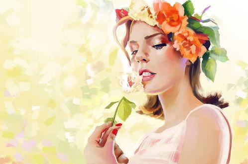 Конкурсная работа Девушка с венком на голове и цветком в руках, by JN T