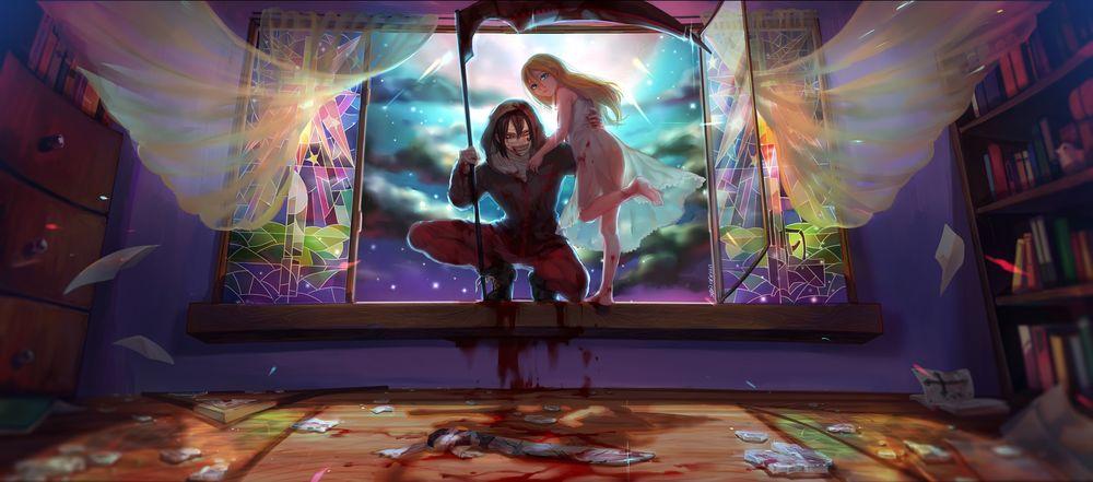 Обои для рабочего стола Рэйчел Гарднер / Rachel Gardner и Айзек Фостер / Isaac Foster на подоконнике открытого окна в темной комнате из аниме Ангел кровопролития / Satsuriku no Tenshi