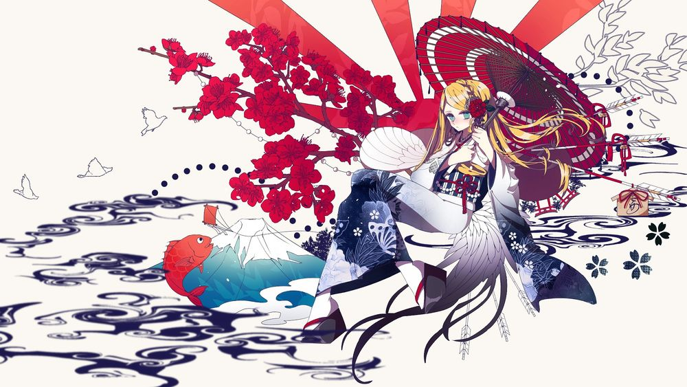 Обои для рабочего стола Рэйчел Гарднер / Rachel Gardner в кимоно под зонтом среди символов Японии из аниме Ангел кровопролития / Satsuriku no Tenshi