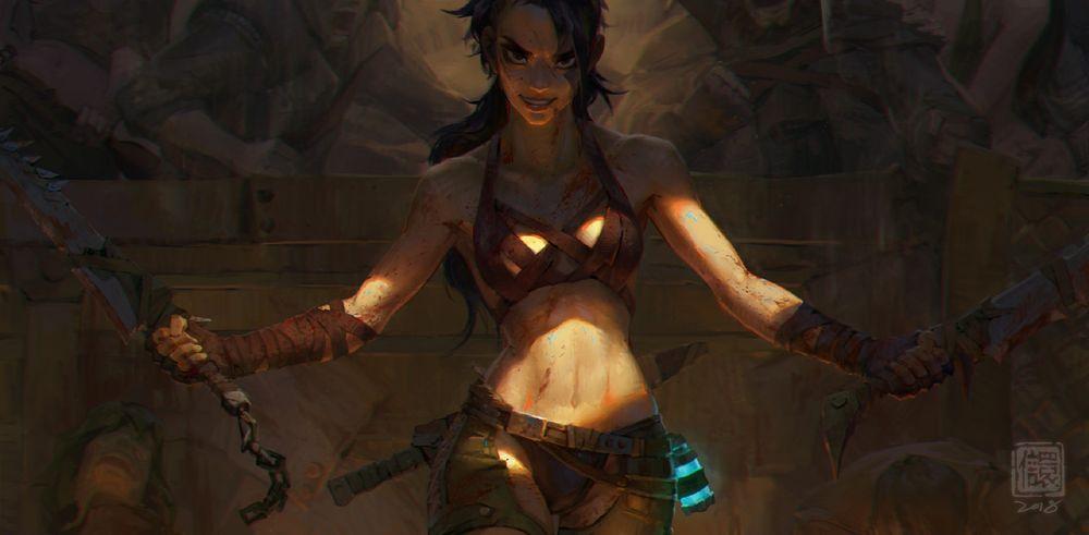 Обои для рабочего стола Девушка-воин Lucia / Лючия стоит с мечами в руках на гладиаторской арене, by Kan Liu