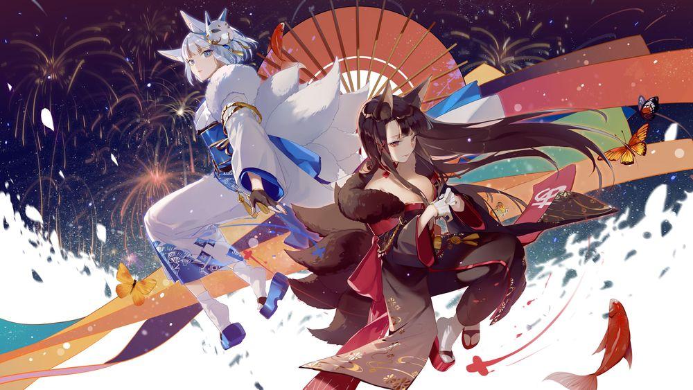Обои для рабочего стола Две fox girls / девушки-лисы в кимоно на фоне неба и воды, персонажи из мобильной браузерной игры Azur Lane