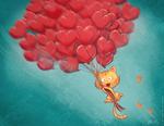 Обои Котенок улетает на шариках в форме сердечек, art by David Revoy