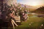 Обои Девушка сидит у цветущего куста, by annewipf