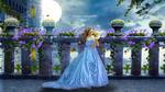 Обои Девушка в короне, в длинном голубом платье с бабочкой над рукой, by mumu0909