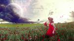 Обои Девушка в венке стоит на маковом поле, by mumu0909