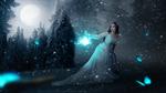 Обои Девушка в белом платье с фонарем в руке, by mumu0909