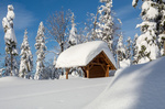 Обои Беседка в снегу, by Marcin Sz