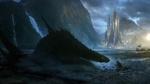 Обои Человек сидит на берегу залива перед огромным драконом вылезшим из воды на фоне замка и скал, by Bastien Grivet