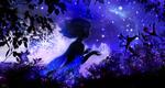 Обои Девушка в платье, сотканным из ночного неба, возле лилий, by 00