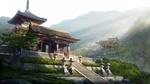 Обои Японский храм с пагодой на вершине холма в лучах утреннего солнца из игры Temple Heroes of Newerth, by Dylan Pierpont Hon