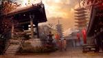 Обои Вид на вулкан Фудзи / Fuji среди пагод в осеннюю пору и две гейши идущие к храму, из игры Assssins Creed, by Vladimir Manyukhin