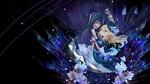Обои Рэйчел Гарднер / Rachel Gardner и Айзек Фостер / Isaac Foster с косой на темном фоне среди цветов из аниме Ангел кровопролития / Satsuriku no Tenshi