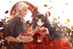 Обои Беловолосый парень Archer / Арчер кормит тортом Tohsaka Rin / Рин Тосака в красном платье из аниме Fate / stay night / Судьба: Ночь Схватки, by Pixiv Id 21199236