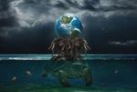 Обои На черепахе стоят три слона, которые держат Землю, фотограф Sergii Vidov