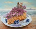 Обои Девочка и парень сидят на кусочке торта, украшенного цветами сирени, by Liza Ray - Lilac