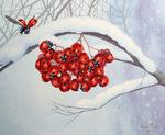 Обои Веточка рябины из божьих коровок на заснеженной ветке в снегу, by Liza Ray - Lilac