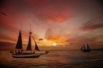 Обои Парусники с людьми на море на фоне заката, by Perry Hoag