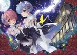 Обои Ram / Рам и Rem / Рем арт аниме Re: Zero kara Hajimeru Isekai Seikatsu / Re: Жизнь в альтернативном мире с нуля