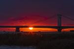 Обои Мост на фоне закат солнца, by Yoshiichi Takeda
