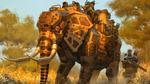 Обои Полностью экипированный и бронированный по 6 классу защиты слон идет по саванне в сопровождении трех солдат