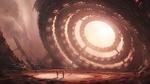 Обои Группа космонавтов разведчиков на чужой планете в поисках живого стоят позади портала