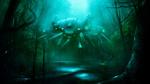 Обои Три робота-паука хищника идут вдоль реки