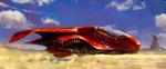Обои Футуристичный летательный аппарат несется над землей