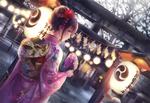 Обои Девушка в юкате на улице украшенной бумажными фонариками