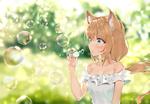 Обои Девушка с кошачьими ушками выдувает мыльные пузыри