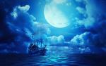 Обои Корабль-призрак на фоне Луны в небе / Летучий голландец, фотограф Sergii Vidov