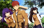 Обои Matou Sakura / Мато Сакура, Emiya Shirou / Эмия Широ, Rin Tohsaka / Рин Тосака из аниме Fate: Stay Night: Heavens Feel / Судьба: Ночь Схватки: Прикосновение Небес