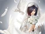 Обои Kirishima Touka / Киришима Тока в свадебном платье держит букет белых роз в руках, арт аниме Tokyo Ghoul / Токийский Гуль