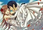 Обои Жених Kirito / Кирито несет на руках невесту Asuna / Асуну, арт персонажей из аниме Sword Art Online / Мастера Меча Онлайн