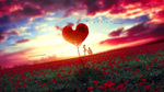 Обои Влюбленные у дерева в виде сердечка на фоне облачного неба, by mumu0909