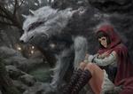 Обои Red riding hood / Красная Шапочка и серый волк в лесу, by jae hyuck jang