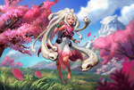Обои Девушка-Medusa / Медуза Горгона бежит по полю среди цветущих деревьев, by jae hyuck jang