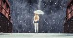 Обои Девочка-кукла с зонтом стоит под снегопадом