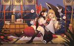 Обои Reimu Hakurei / Рейму Хакурей обрабатывает царапину на щеке у Kirisame Marisa / Кирисаме Марисы персонажи из серии компьютерных игр Touhou Project / Проект Восток