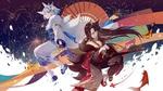 Обои Две fox girls / девушки-лисы в кимоно на фоне неба и воды, персонажи из мобильной браузерной игры Azur Lane