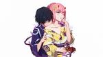 Обои Hiro / Хиро со спины целует Zero Two / Зеро Ту в обнаженное плечо из аниме Darling in the FranXX / Милый во Франкcе