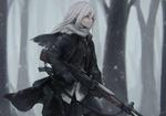 Обои Девушка с оружием в руках стоит под снегопадом