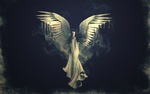 Обои Девушка - ангел парит в небе
