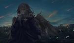 Обои Девушка-эльф с крыльями на фоне ночного города