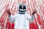 Обои DJ Marshmello в своей фирменной маске, стоит подняв руки
