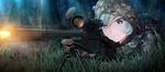 Обои Девушка в камуфляже стреляет из снайперской винтовки, персонаж из аниме Grisaia phantom trigger
