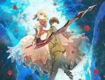 Обои Saber / Сэйбер с мечом рядом с парнем в военной форме, персонажи из серии визуальных новелл и аниме Fate / Extra