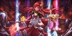 Обои Эльфийка с красными волосами проводит магический ритуал при помощи посоха и кристаллов, арт к игре Dungeon Fighter Online, by lunacle