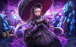 Обои Беловолосая девушка с красными глазами, арт к игре Dungeon Fighter Online, by lunacle