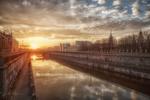 Обои Закат на Обводном канале. Санкт-Петербург. Фотограф Сергей Рехов